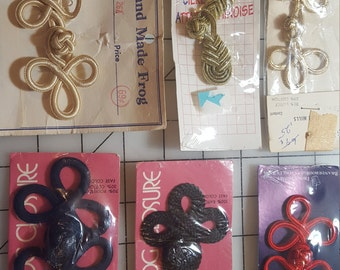 Pick (1) color/qty Frog Closure(s) Red Black Navy Ivory Gold