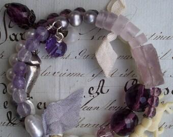 All The Pretty Little Horses - Vintage Assemblage, gemstone bracelet