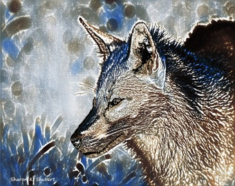 Silver Fox Art, Southwestern Home Decor, Native American Totem Animal, Digital Abstract Realism, Wildlife Wall Hanging, Giclee Print, 8 x 10