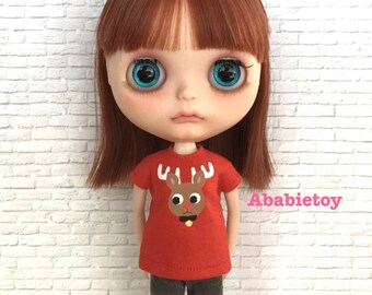 Red Cotton Jersey T-Shirt for Blythe - Rudolph Reindeer