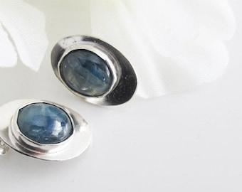 Blue Denim Stone Studs, Oval Kyanite Cabochons Bezel Set on Sterling Silver
