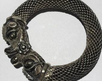Massive Tribal Siver bangle . Makara head bangle . Silver Mesh . Antique Indian Jewelry