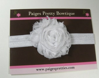 White Shabby Chic Flower Headband-Baby Headband-Toddler Headband-Elastic Headband-Infant Headband
