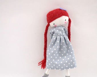 Handmade rag doll , Pipi - ooak cloth art rag doll polka dots dress, bow and socks braids red hair made to order