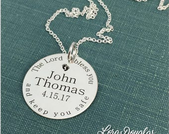 Baptism, Christening, Confirmation, Baby Dedication, First Communion, Silver Charm, Personalized Jewelry, Christening Gift, Engraved Jewelry