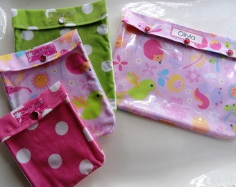 SALE Ouch Pouch 4 Piece Set Clear Front Diaper Bag Organizers Ouch Pouch Baby Hospital Supplies Kit Forest Animals and Polka Dots