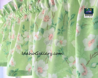 Mint Green with White Blossoms Summer Valance Curtain Window Treatment by Idaho Gallery