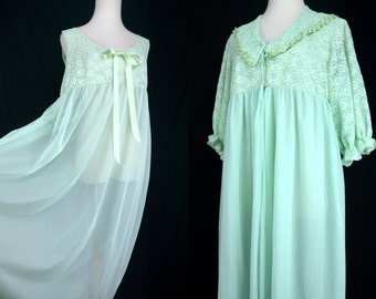 1960s Green Chiffon Pajama Set Nightgown Robe Peignoir Sheer Lace Maxi Negligee Medium