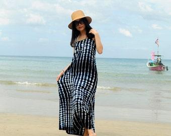 Bohemian Boho tiedye cotton maxi dress sleeveless navy and white stripe