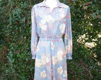 ON SALE 70s Blue Floral Dress size Small Medium Tie Neck Dress Keyhole Sheer Blue