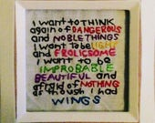 Mary Oliver Poetry framed hand embroidery free U.S. shipping