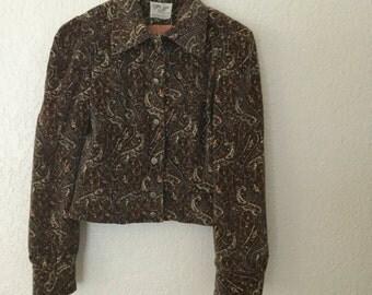 SALE Brown paisley velvet jacket 60s 1960s S M