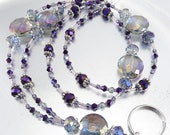 Bold Purple Sparkly Rainbow Crystal Glass ID Lanyard, Badge Holder, ID Necklace, Key Chain Necklace