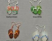 Sea Glass Flip Flop Earrings, Your Choice