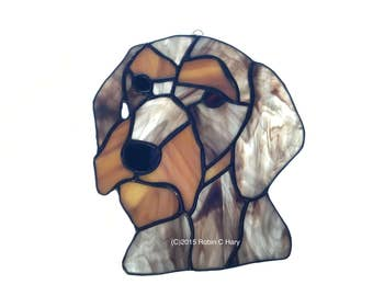 Wirehaired Dachshund in Stained Glass