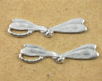 6 silver DRAGONFLY jewelry embellishment 30mm x 7mm (FF22c)