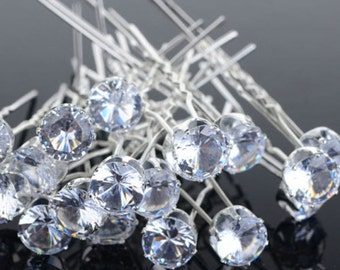 10 Pcs  Bridal  Silver  White  CZ  Crystal  Hair  Pins  Wedding   Party Prom Teen  Girls  Brides   Bobby  Pins Clips
