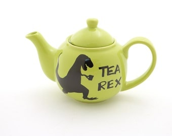 Tea Rex Teapot with strainer , t-rex dinosaur, small tea pot, ceramic teapot kiln fired holds 1 cup - upcycled