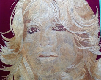 Golde Hawn portrait Handmade with rice straw! Movie star of 80s Golde Hawn.Have U seen it? Beautiful aty for Golde fans.Collectible leaf art