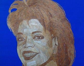 Oprah Winfrey portrait handmade with rice straw. Have U seen ancient rice straw art? T V star Oprah  handmade wil rice leaves. Collectible