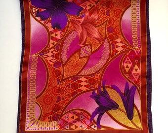 Vintage Vera Neumann Silk Gold and Purple Scarf