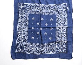The Vintage Blue Indigo Ikat Paisley Cotton Bandana Hankerchief Scarf
