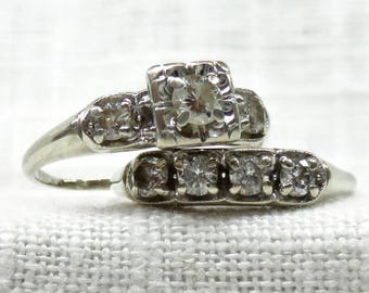 Vintage Art Deco 14k Gold Diamond Engagement Ring and Wedding Band Set .68 Carats