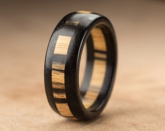 Size 10 - Pale Moon Ebony Wood Ring