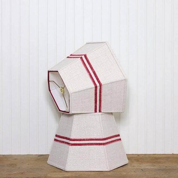 grain sack lampshade medium lamp shade vintage red stripe. Black Bedroom Furniture Sets. Home Design Ideas