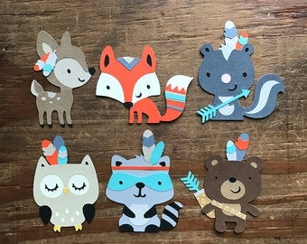 1 Dozen Tribal Woodland Creatures Cupcake Picks
