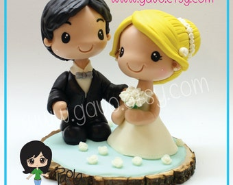 Wedding Cake Topper Bride and Groom Cold Porcelain