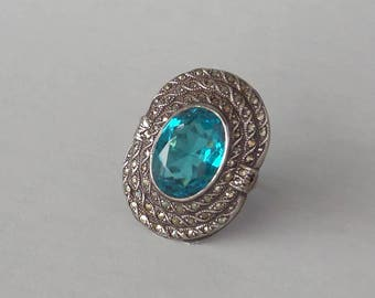 Art Deco Sterling Ring. Bold Blue with Wide Marcasite Frame.