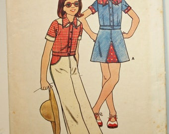 Vintage 1970s, Sewing Pattern, Butterick 3650,   Girls' Top, Pants and Skirt, Girls' Size 7,  UNCUT Pattern, FF