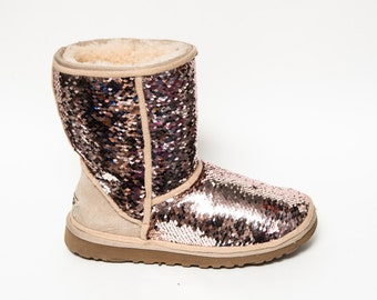 Mermaid Sequin | Rose Gold & Champagne Ugg Classic Short Fuzzy Custom Boots