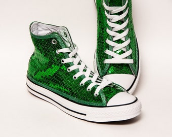 Sequin - Kelly Green Canvas Canvas Hi Top Sneakers Shoes