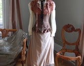 Layered victorian inspired steampunk gypsy dress tattered mixed with modern skirt top plaid corset