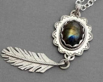 Labradorite necklace long sterling silver feather pendant necklace natural stone necklace boho bohemian gypsy jewelry unusual gem artisan
