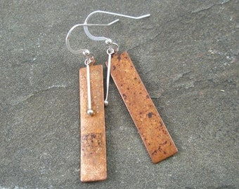 Mixed Metal Copper and Sterling Silver Earrings