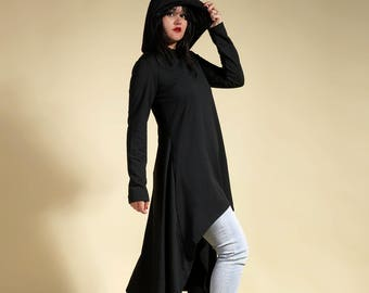 "Long deconstructed dark grey tunic ""Schizophrénia"""