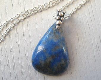 Teardrop Shaped Lapis Lazuli Pendant Necklace