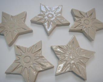 White Mosaic Star Tiles- Stoneware stars