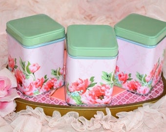 PINK ROSES CANISTERS, set of 3 matching vintage tea tins for organizing beautifully!