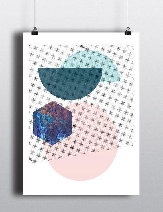 90s SUPERPOSITION // Mid Century Poster, 24x36, pink, circle, abstract art, minimalist, scandinavian design