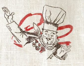 Linen Tea Towel Lobster Chef Kitchen Hanging Textile Cooking Pot
