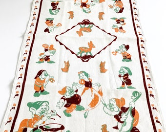 Vintage Towel Snow White Seven Dwarves Walt Disney Movie Collectible  Textile