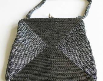 Vintage Purse Handbag Top Handle Style Delill Bugle Bead Gunmetal Gray