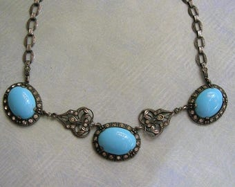 Antique 1930's Art Deco Sterling and Turquoise Glass Necklace, Art Deco Necklace, Old Sterling Art Deco Necklace (#3138)