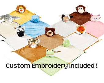Personalized Baby Blanket, Baby Animal Blanket, Custom Made Baby Shower Gift, New Born