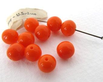 Vintage Beads Bright Orange Glass Rounds West Germany 8mm vgb1127 (10)