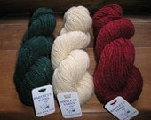 3 Shades of Fisherman Wool Yarn  for Christmas Stockings    SALE